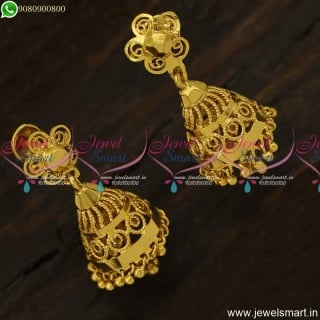 Light Weight Gold Jimikki Kammal Design Screwback Covering Jewellery J23899