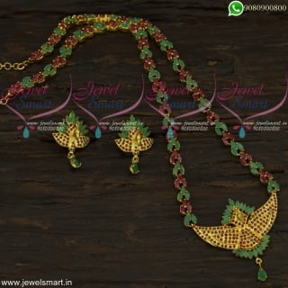 3D Peacock Face Long Necklace Marquise Stones Fashion Jewellery Jaipuri NL22322