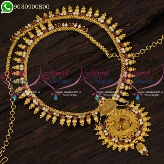 Long Necklace Wedding Jewellery Haram Collections South Indian Designs NL21185
