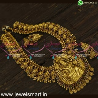 Lord Krishna Heavy Nagas Bridal Jewellery Lavish Long Gold Necklace for Marriage NL24337