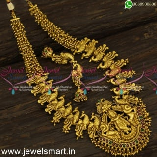 Lord Krishna Nagas Bridal Jewellery Lavish Long Gold Necklace for Marriage NL24230
