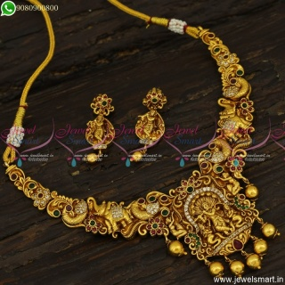 Lord Krishna Temple Jewellery Necklace Set Latest Antique Gold Plated Collections NL23486