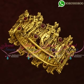 Lord RadhaKrishna Design Antique Bangles Gold Plated Collections Online B20865