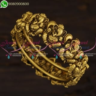 Lord Vinayagar Design Temple Bangles Antique Gold Plated Jewelry Online