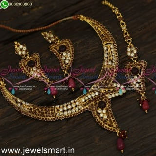 Low Price Designer Necklace Set With Maang Tikka and Earrings NL24086