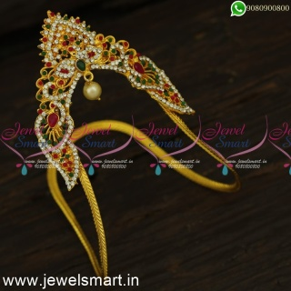 V24368 Low Price Medium Size Traditional Gold Bajuband Designs For Wedding Online