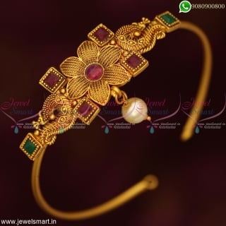 Low Price Simple Kai Vanki Bajuband Design Latest Floral Bridal Jewellery Designs Online V19166