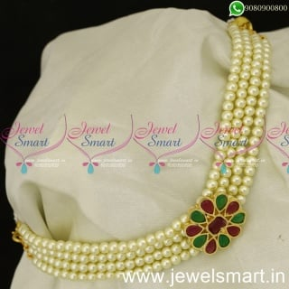 Low Price Simple Pearl Choker Necklace Pusalu Mala Shop Online NL24049
