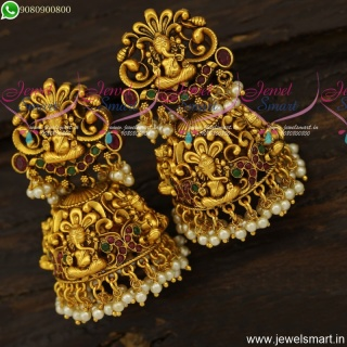 Magnificent Lord Ganesha Temple Jewellery Gold Design Heavy Jhumka Earrings J23926