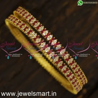 Majestic Diamond Bangles Design Set of 2 Traditional Gajulu Gold Plated Online B24024