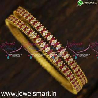 Majestic Diamond Bangles Design Set of 2 Traditional Gajulu Gold Plated OnlineB24024