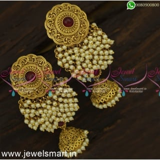 Majestic Floral Pearl Jhumka Earrings For Wedding Celebrity Jimikki Kammal Online