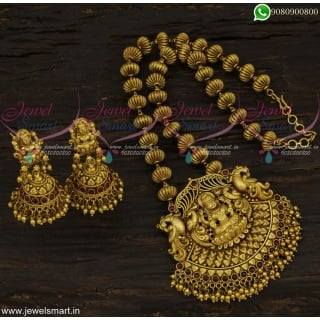 Majestic Temple Jewellery Antique Kharbuja Beaded Gold Necklace Designs Online NL22549