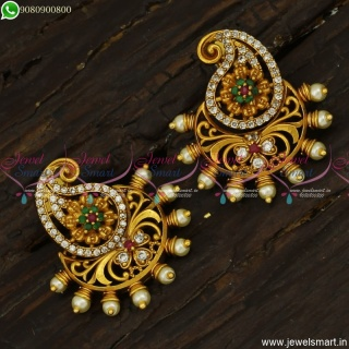 Manga Thodu Kammal Designs Latest CZ Ear Studs Models With Pearls Online ER23791