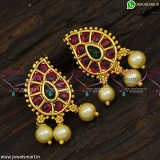 Mango Design Gold Plated Stud Earrings Online Kemp Jewellery With Pearls