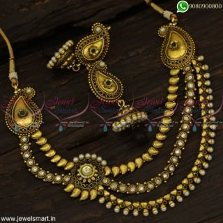 Mango Jhumka Earrings With 3 Chain Layered Necklace Design Antique Jewellery Online