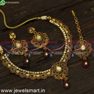 Maroon White Colour Costume Necklace Set with Earrings and Maang Tikka Low Price NL24089