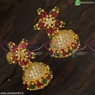Trending Marquise Stones Jhumka Earrings Rare Star Design Small Jimikki Online J23336