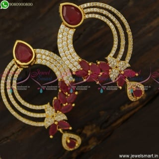 Marvelous CZ Ruby Earrings Gold Design Fashion Jewellery Collections Online ER23749