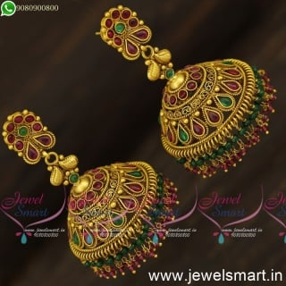 Marvelous Heavy Designer Jhumka Earrings Most Popular Gold Design Crystal Twin