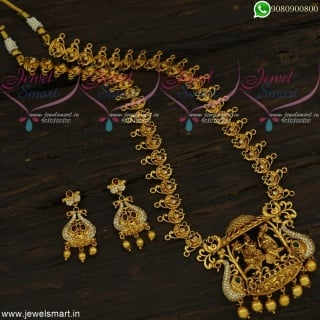Marvelous Long Gold Necklace Designs With Indian Price Lord Radha Krishna Temple Jewellery NL22435