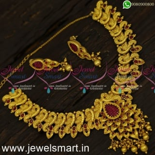 Marvelous One Gram Gold Necklace Show of Brilliance In Artistry Online NL24064