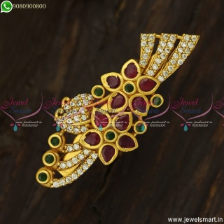 Matte Look Flower Bouquet Design Saree Pins Latest Jewellery Accessories SP23710