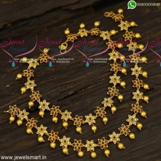 Matte Look Stone Anklets for Bride Handcrafted Imitation Jewellery Online P23963