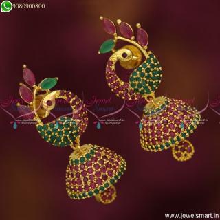 Mayil Jhumka Earrings Uncommon Jimikki Kammal Marquise Stones JewelleryJ20053