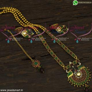 Meenakari Long Necklace Antique Gold Fashion Jewellery Jhumkas and Maang Tikka NL22148