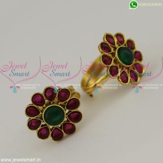 Metti Kemp Stones Imitation Toe Rings Online Indian Jewellery Copper MetalT22484