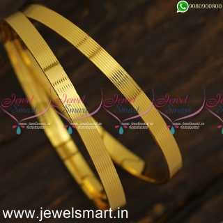 Mild 8 Line Smooth Surface Gold Bangles Design Comfy Artificial Jewellery OnlineB24019