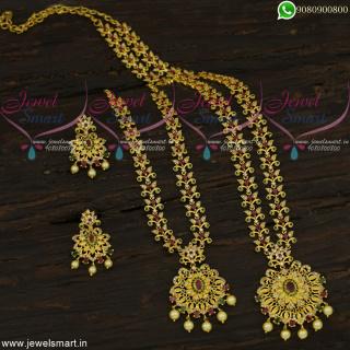 Mini Bridal Jewellery Set AD Stones Short Necklace Long Haram Combo Long Lasting Life