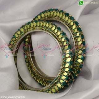 Mirror Work Lac Bangles Floral Design Dress Matching Fancy CollectionsB23372