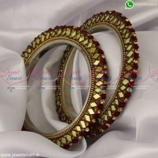 Mirror Work Fancy Lac Bangles Floral Design Dress Matching CollectionsB23379