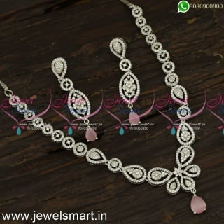 Monalisa Colour Stone Diamond Necklace Designs Subtle Silver Plated Jewellery NL24075