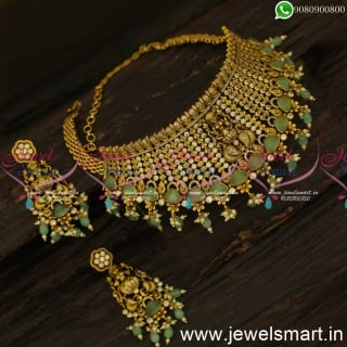 Monalisa Green Stone Temple Choker Necklace For Wedding Antique Gold DesignNL24463