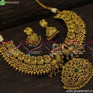 Monumental Designer Jewellery Lofty Antique Gold Necklace Designs Bridal Collections NL23865