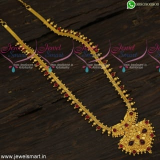 Mullamottu Malai Kemp Stones Long Necklace Gold Plated Traditional Design NL23933