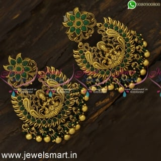 Nakshi Temple Chandbali Earrings Pearls and Gold Beads Bridal Jewellery Online ER24253