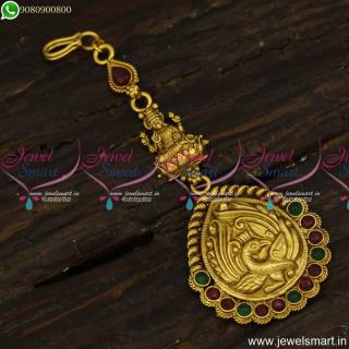 Nakshi Temple Jewellery Latest Small Maang Tikka Designs Nethichutti Models T23850