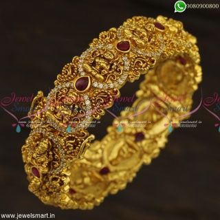 Nakshi Temple Kada Bangles Gold Design Antique Jewellery CZ Kemp Stones B23286
