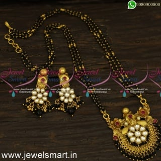 Nalla Pusalu 3 Line One Gram Gold Kundan Mangalsutra Karumani MalaiM24551