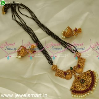 Nalla Pusalu 4 Line Double Naka Peacock Pendant Mangalsutra with Jhumkas online MS24213