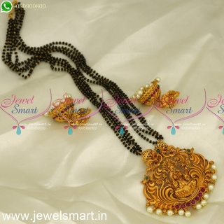 Nalla Pusalu 4 Line Temple Nakshi Mangalsutra With Jhumkas Online MS24211