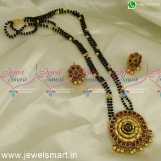 Nalla Pusalu Double Strand Mangalsutra Karumani Malai Antique Gold PlatedMS24141