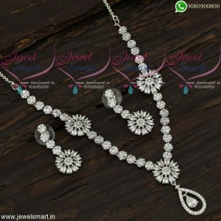 Necklaces for Girls White Stones Studded Artificial Jewellery Collections in Diamond Design NL21783