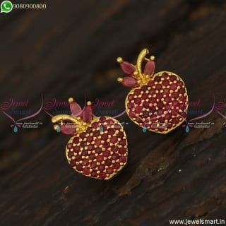New Apple Ear Studs Designs Gold Plated Screwback South Indian Jewellery Online ER23574