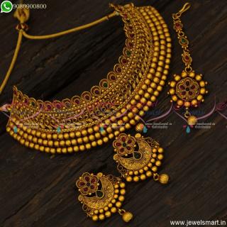 New Gold Design Choker Necklace Matte Reddish Chand Bali Earrings Maang Tikka NL23694