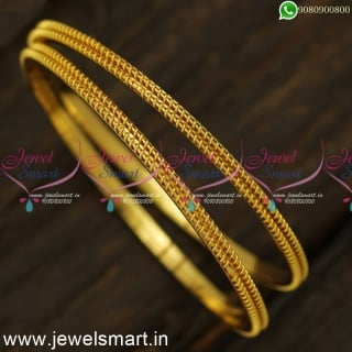 New and Unique Simple Gold Bangles Design Double Tube Emboss Online B24556
